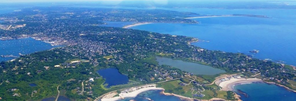 a birds eye view of aquidneck