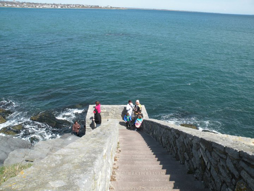 walking down the 40 steps in aquidneck